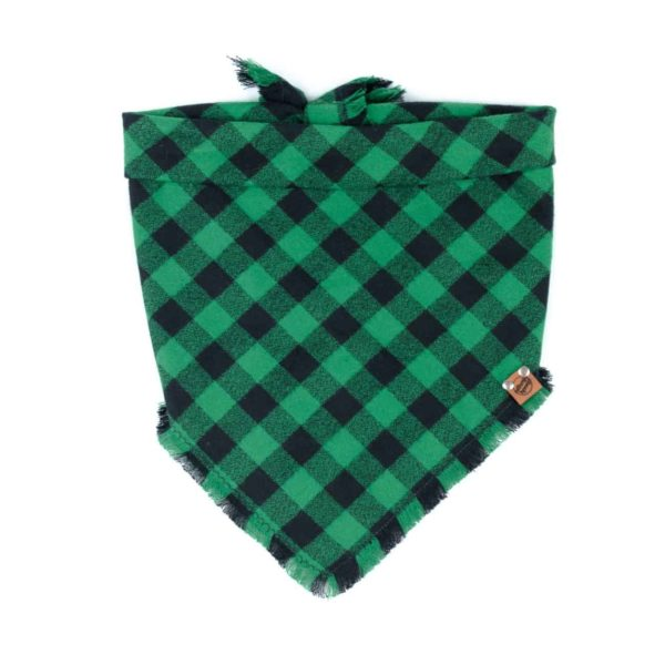 Green and Black Buffalo Plaid frayed Dog Bandana