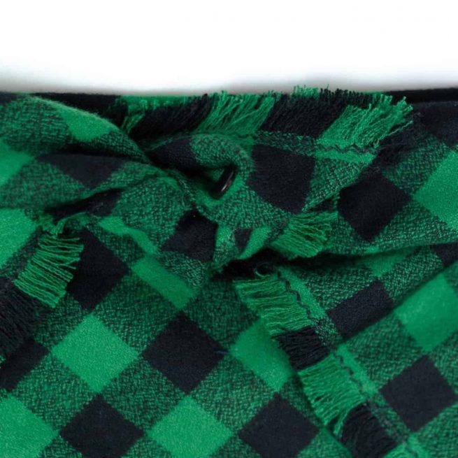 Green and Black Buffalo Plaid frayed Dog Bandana