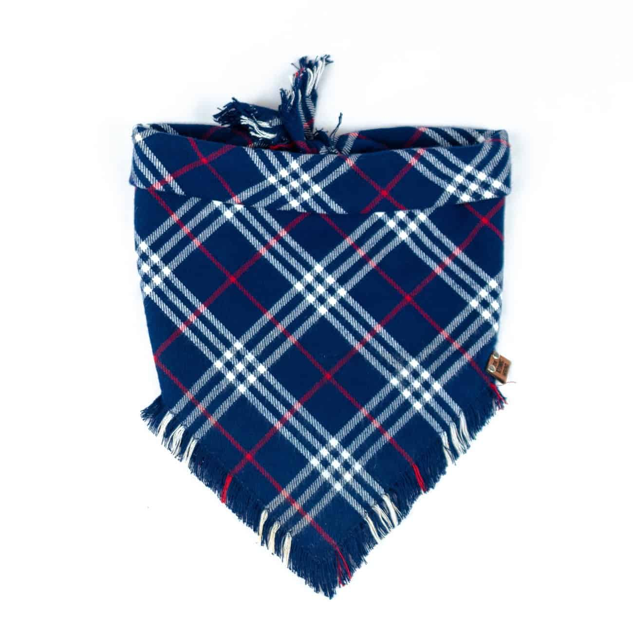 Blue, red and white frayed dog bandana