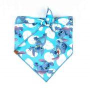 Cartoon Character Stitch with White leaves and blue background dog bandana