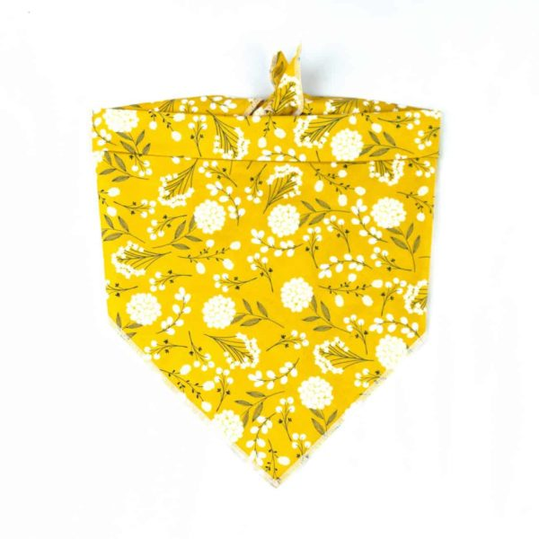 yellow and white floral dog bandana