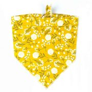 yellow and white floral dog bandana