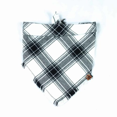 Black and White Checkered Frayed Bandana