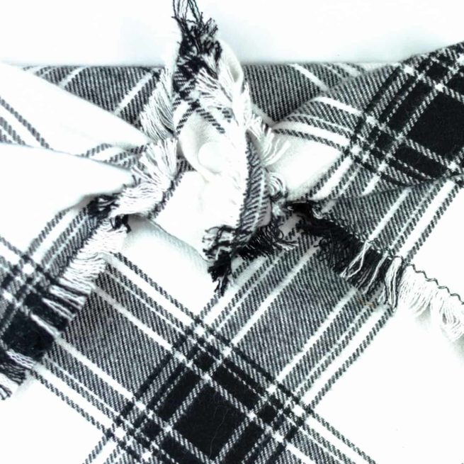 Black and White Checkered Frayed Bandana