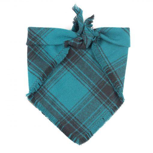Teal and Black Frayed dog bandana