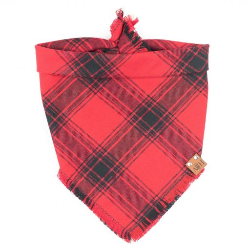 Red and black frayed dog bandana