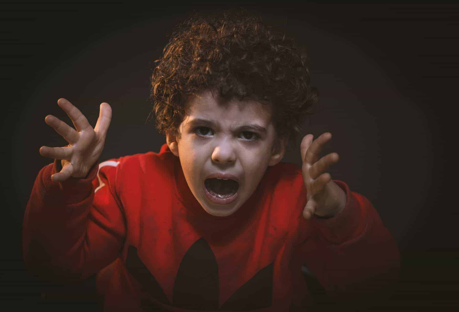 Toddler wearing a red shirt with hands by face yelling