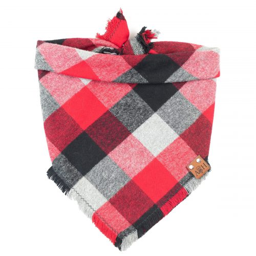 Romeo Frayed Dog Bandana in Red, Black and grey buffalo print