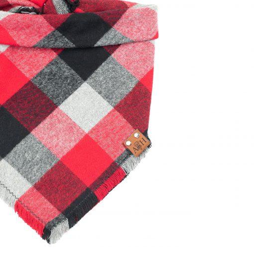 Romeo Frayed Dog Bandana in Red, Black and grey buffalo print