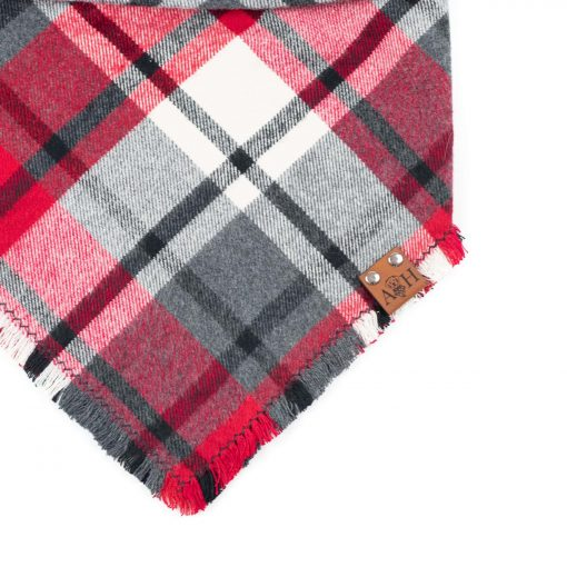 Juliet Frayed Dog Bandana in grey, black, red and white
