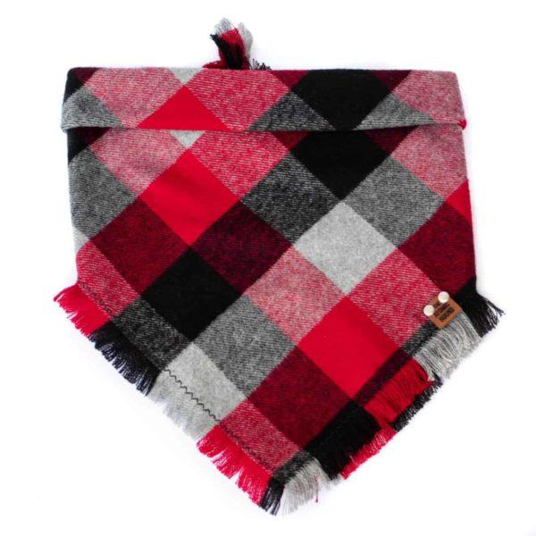 Red, Black, Grey and White Buffalo Print Plaid Dog Bandana