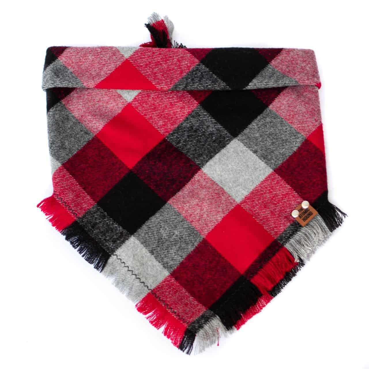 Red, Black, Grey and White Buffalo Print Plaid Dog Bandana