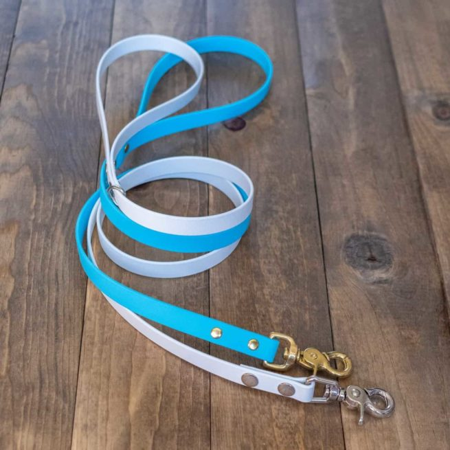 White and Blue Standard Dog Leash
