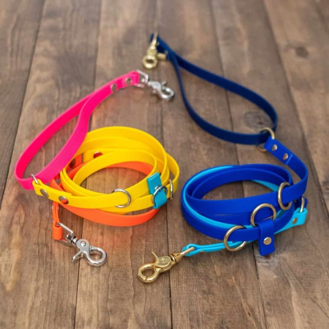 Yellow and Blue Hands-Free Leashes