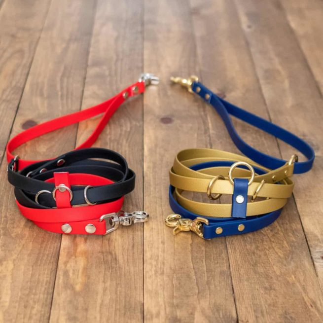 Two-Toned 9-Way Hands-Red and Black and Gold and Navy Free Waterproof Dog Leash