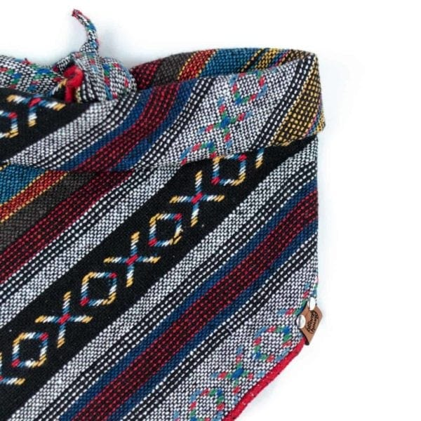 Guatemalan Dog Bandana with a XO geometric rainbow pattern