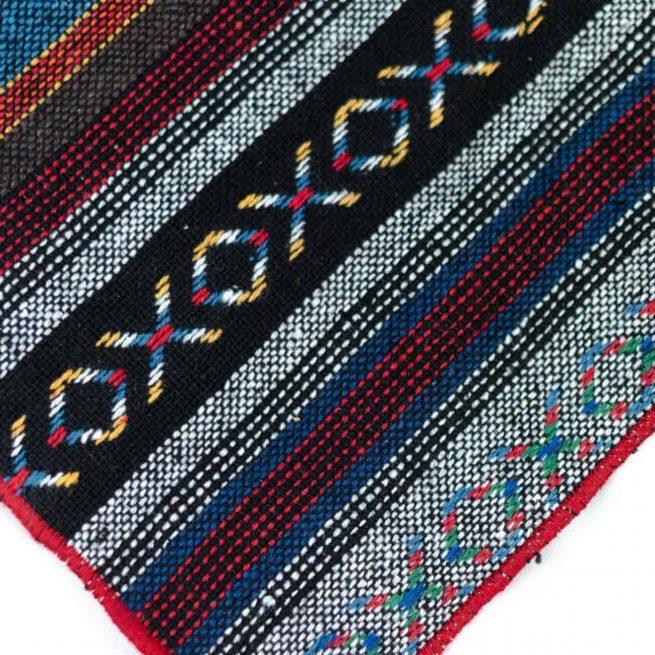 Guatemalan Dog Bandana with a XO geometric rainbow pattern