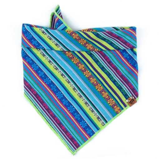 Green, Light Blue Purple, Yellow Guatemala geometric Fabric Dog Bandana