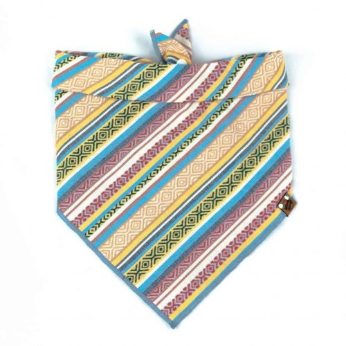 Yellow, Red, Blue Geometric Guatemala Dog Bandana