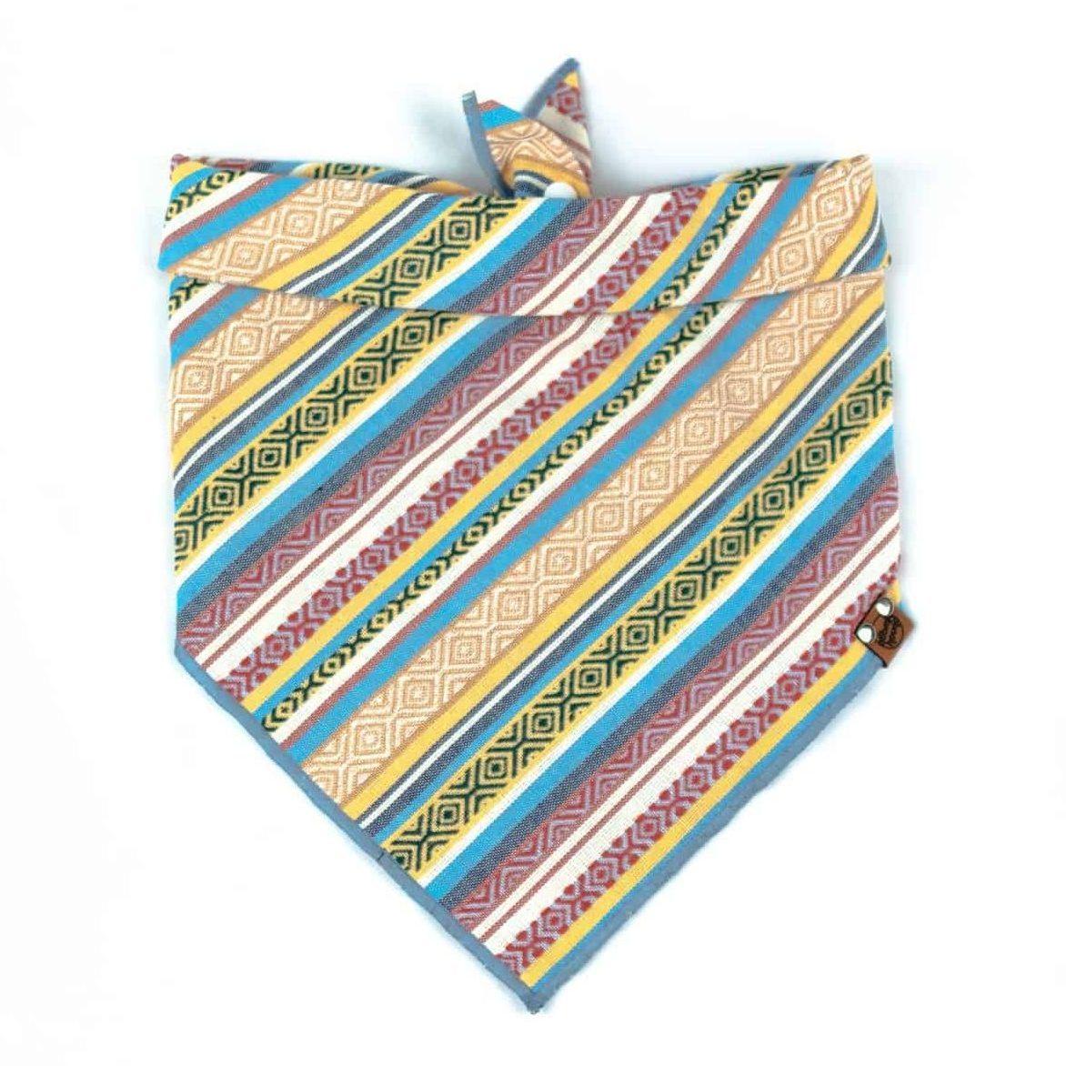 Yellow, Red, Blue Geometric Guatemala Dog Bandana