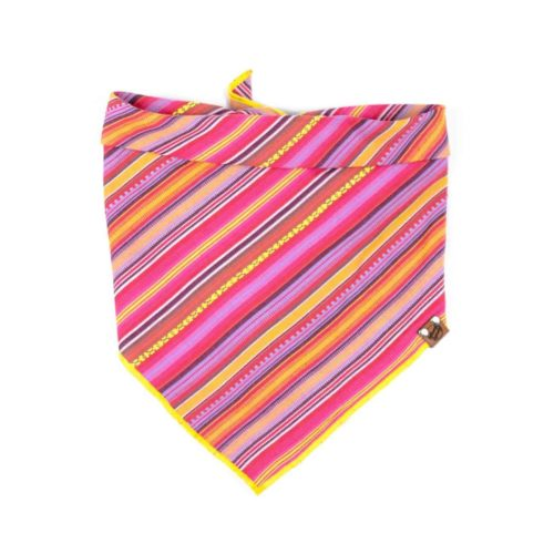 Pink, Yellow, Orange Striped Guatemalan Dog Bandana