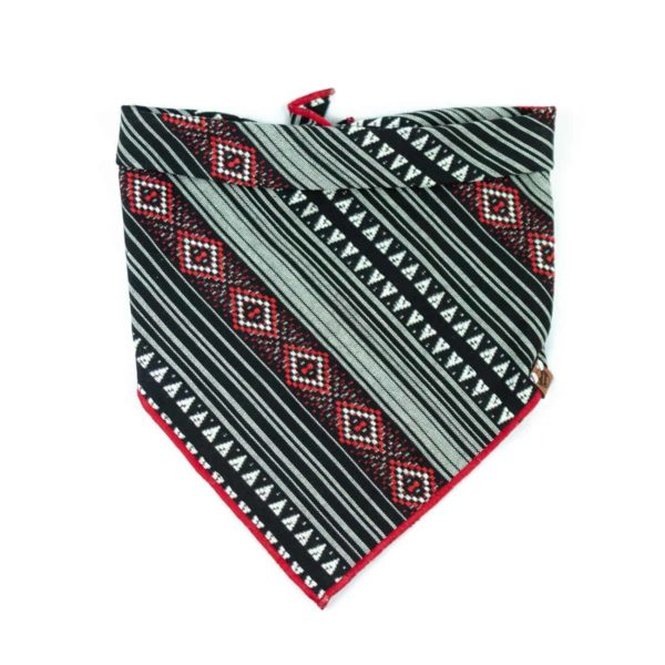 Red and Black Bohemian Geometric Patterned Dog Bandana
