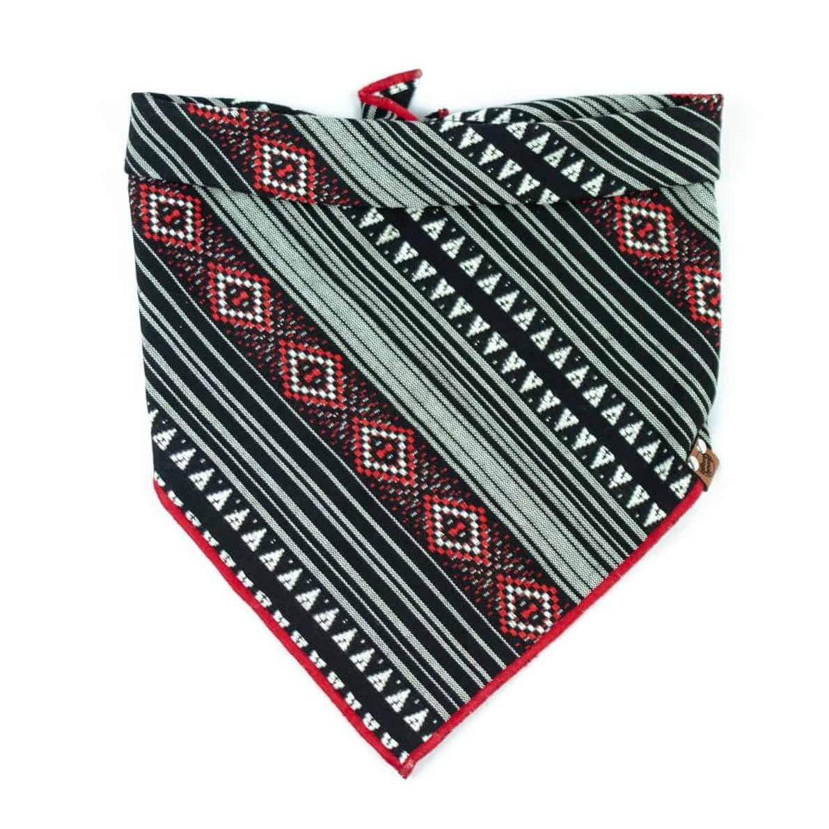 Red and Black Bohemian Geometric Patterned Dog Bandana