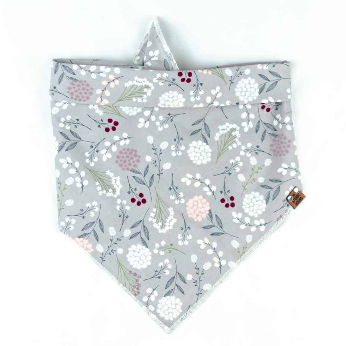 Grey Floral Dog Bandana With Pink and Red Flowers