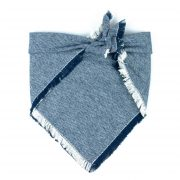 Light Blue and White checkered Frayed Dog Bandana