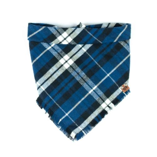 Navy Blue, Royal Blue, Black and White Frayed Dog Bandana
