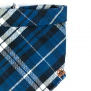 Navy Blue, Royal Blue, Black and White Frayed Dog Bandana