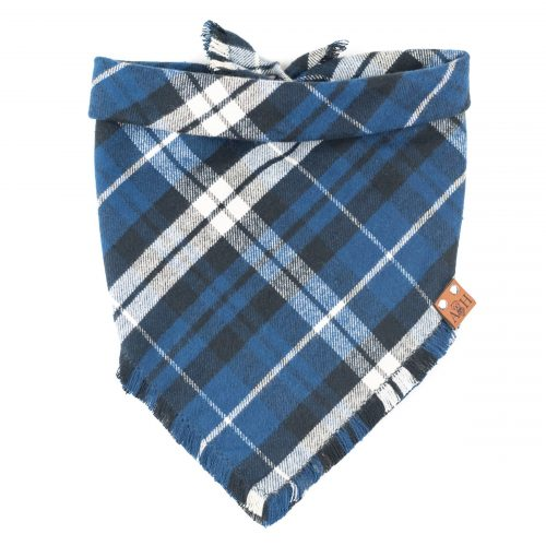 Blue and Black Alex Frayed Dog Bandana
