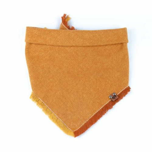Orange and Yellow Frayed Flannel Dog Bandana