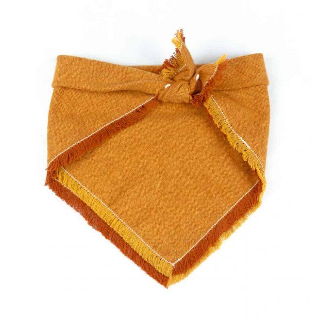 Orange and Yellow Frayed Flannel Dog Bandana