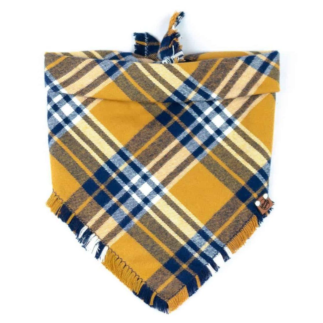Yellow and Blue Checked Frayed Dog Bandana