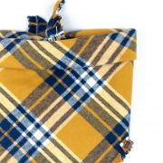 Yellow and Blue Checked Frayed Dog Bandana