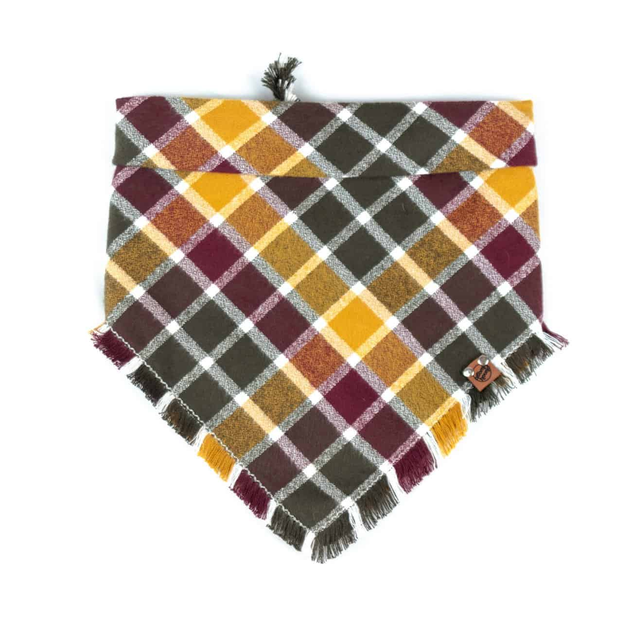 Burgundy, Yellow, Forest Free Frayed Fall Dog Bandana