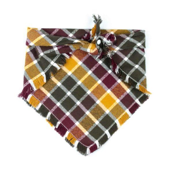 Burgundy, Yellow, Forest Free Frayed Fall Dog Bandana