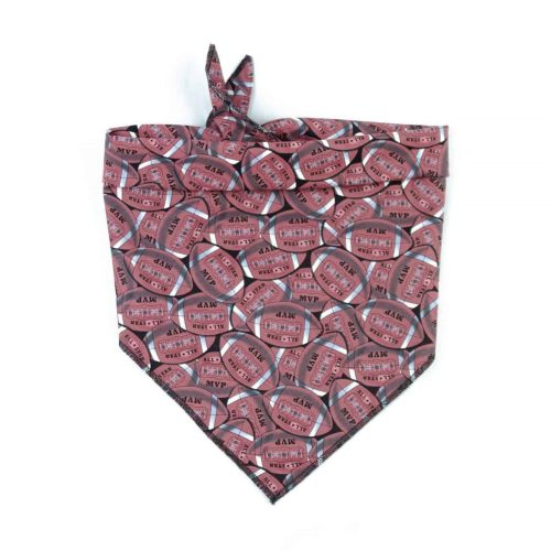 Brown Football dog bandana with MVP writing