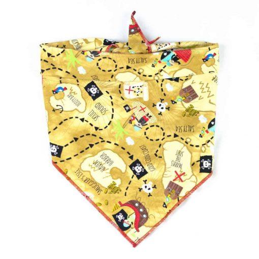 Gold Pirate Map Dog Bandana