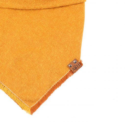 Pumpkin spice yellow and orange frayed dog bandana
