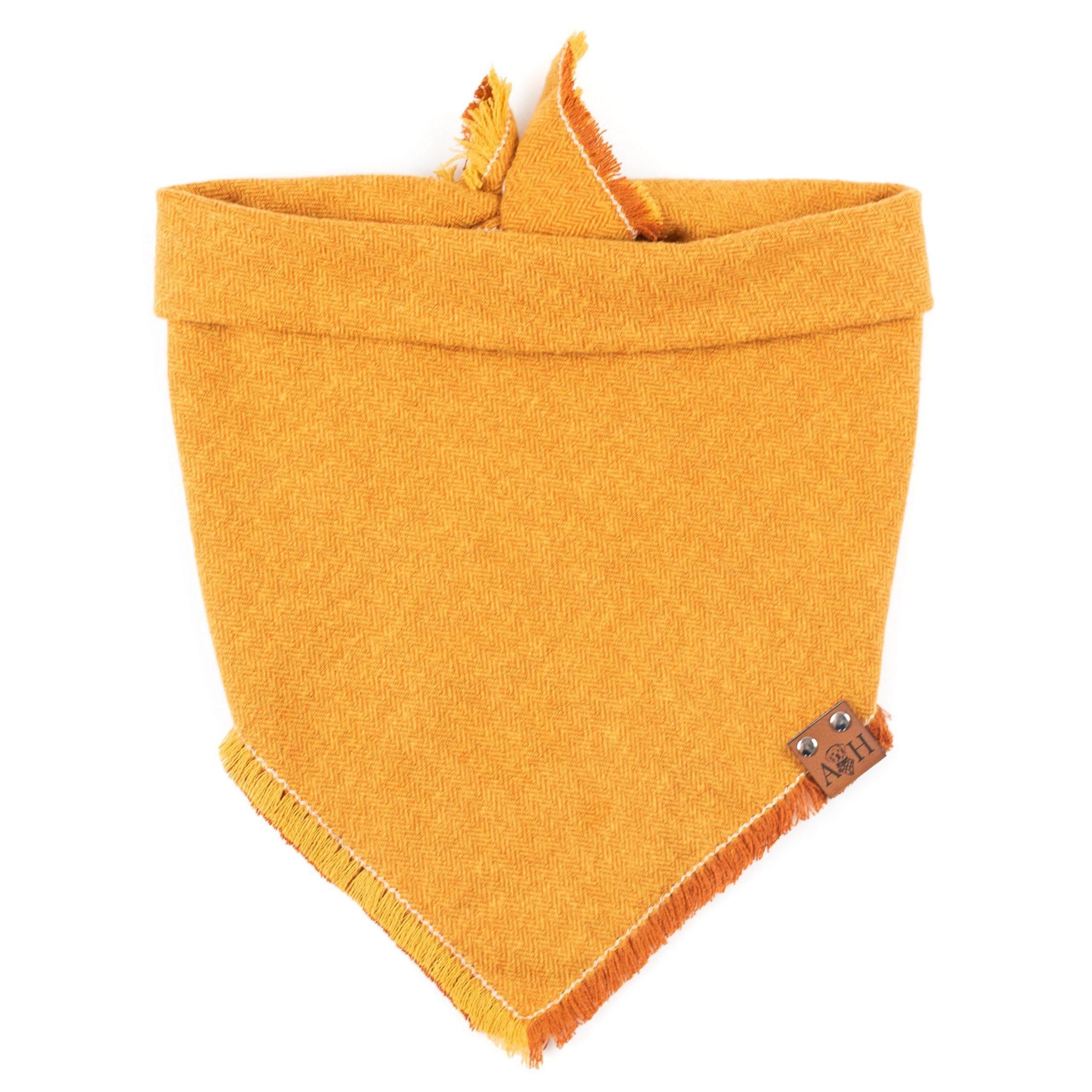 Orange and white pumpkin spice frayed dog bandana