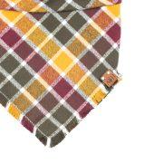 Hazel Frayed Dog Bandana in red, yellow and greey