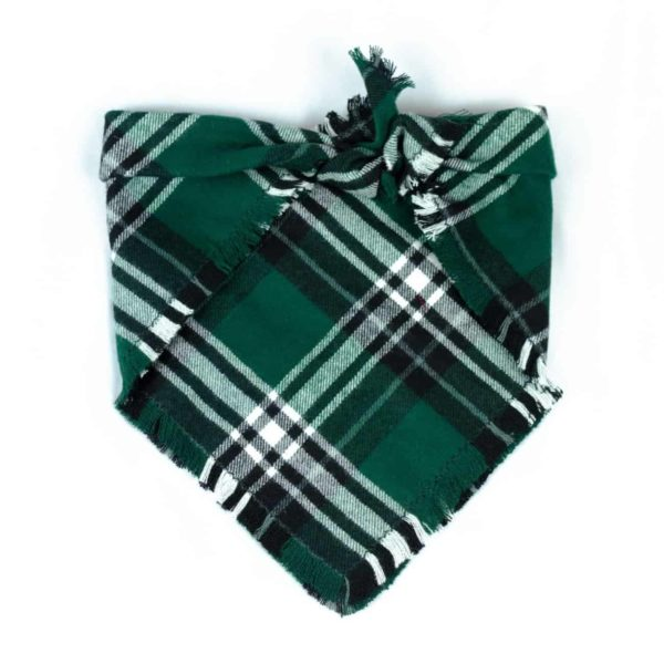 Green, Black and White Frayed Dog Bandana
