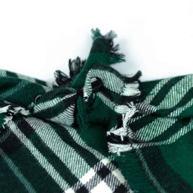 Green, Black and White Frayed Dog Bandana