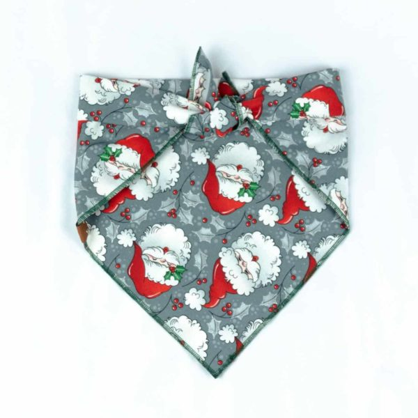 Retro grey santa christmas dog bandana