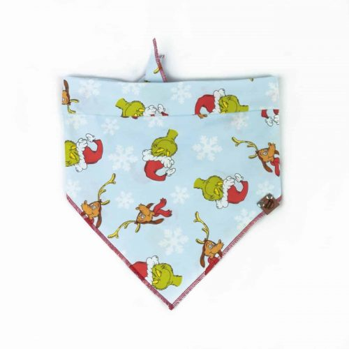 Light Blue Grinch and Max Dog Christmas Bandana