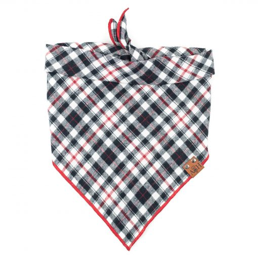 Red and Black Flannel Valentino Dog Bandana