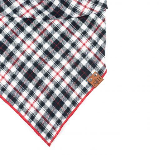 Red and Black Flannel Valentino Dog Bandana