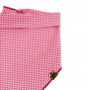 Light pink dog bandana with red mini hearts